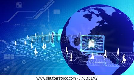 virtual business activity concept - stock photo