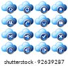 Virtual cloud icons Set 2 Blue - Raster Version - stock vector