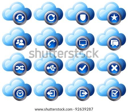 Virtual cloud icons Set 2 Blue - Raster Version - stock photo