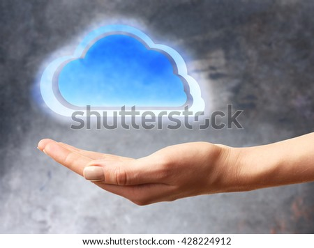 Virtual cloud on hand. Cloud storage concept with copy space