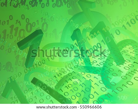 Virtual digits abstract 3d illustration, green background, horizontal