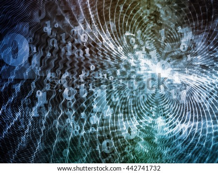 Virtual Field series. Arrangement of space ripples and numbers on the subject of math, science, research and modern technology - stock photo