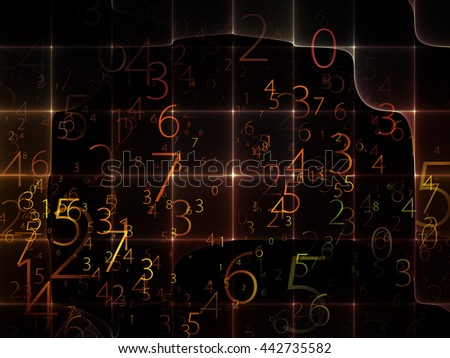 Virtual Field series. Background design of space ripples and numbers on the subject of math, science, research and modern technology - stock photo