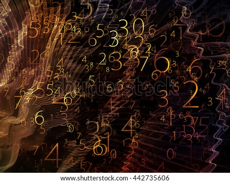 Virtual Field series. Composition of space ripples and numbers suitable as a backdrop for the projects on math, science, research and modern technology - stock photo