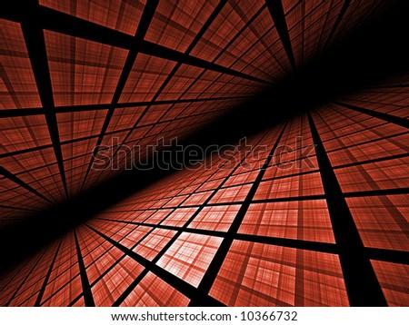 Virtual Grid Landscape - fractal illustration - stock photo