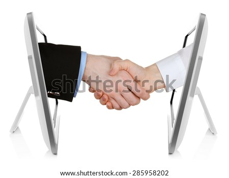Virtual handshake.  Internet business concept isolated on white - stock photo