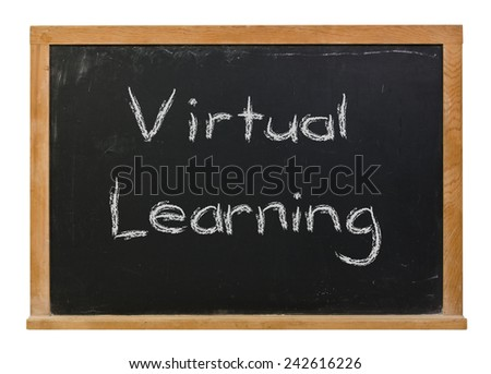 Virtual learning written in white chalk on a framed black chalkboard isolated on white - stock photo