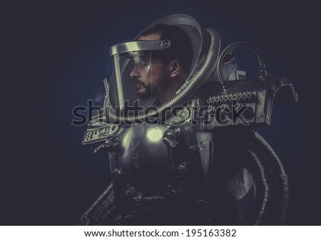 Virtual man with robotic armor, Starfighter - stock photo