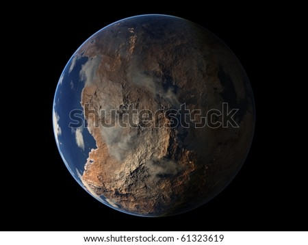 Virtual Planets Desertic Earth-Like Planet 04 - stock photo
