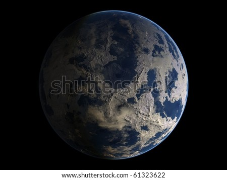 Virtual Planets Ice Earth-Like Planet 03 - stock photo