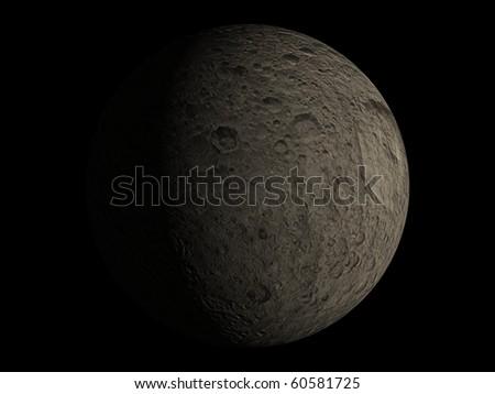 Virtual Planets Mimas Moon 03 - stock photo