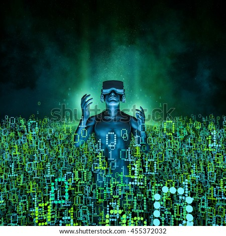 Virtual reality dawn / 3D illustration of man wearing virtual reality glasses surrounded by binary data