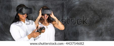 Virtual reality glasses being used by a happy woman