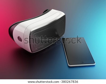 virtual reality headset and mobile smartphone on colorful background