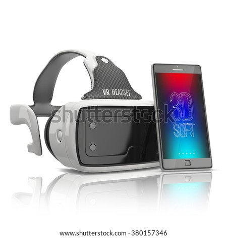 virtual reality headset and smartphone on white background
