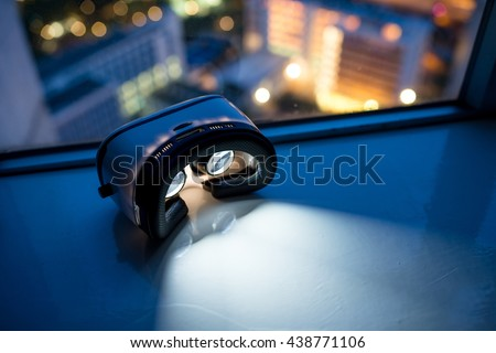 Virtual reality headset with cityscape background