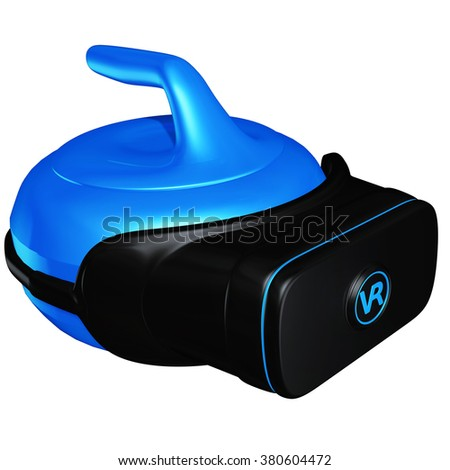 Virtual Reality VR Curling - stock photo