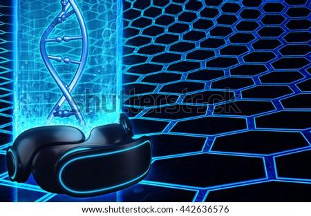 Virtual Reality VR DNA 3D Illustration - stock photo