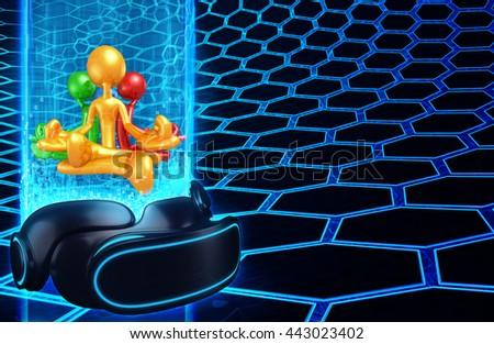 Virtual Reality VR Meditation 3D Illustration - stock photo