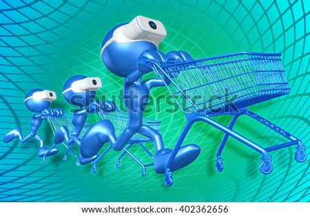 Virtual Reality VR Shopping Goggles Glasses Headset Device Concept 3D Illustration  - stock photo