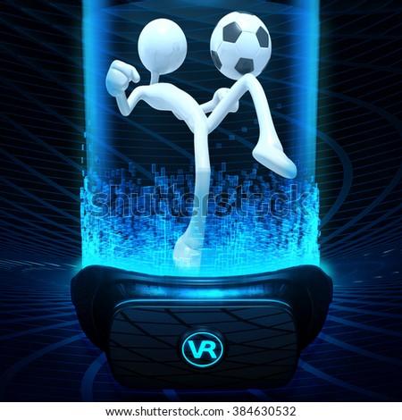 Virtual Reality VR Soccer - stock photo