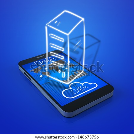 Virtual storage with a mobile phone - stock photo