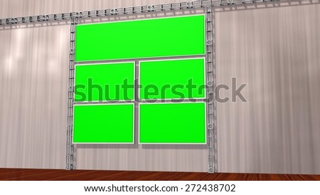 Virtual Studio Video wall with isolated screen Monitors  - stock photo