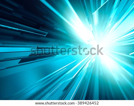 Virtual tecnology abstract blue background. 3d render illustration - stock photo