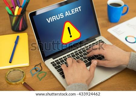Virus Alert Sign on computer - stock photo