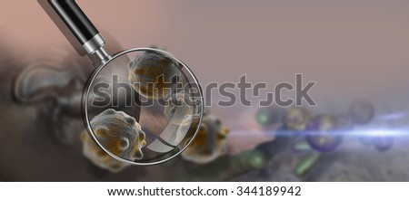 Virus and bacterium background - High Quality 3D Render - stock photo