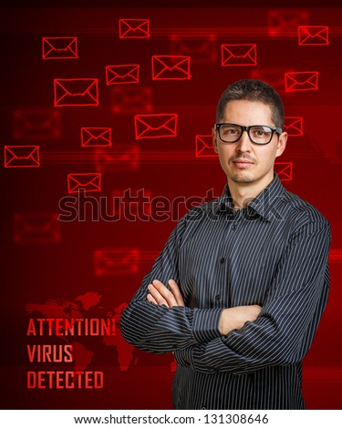 Virus detected message on digital interface - stock photo