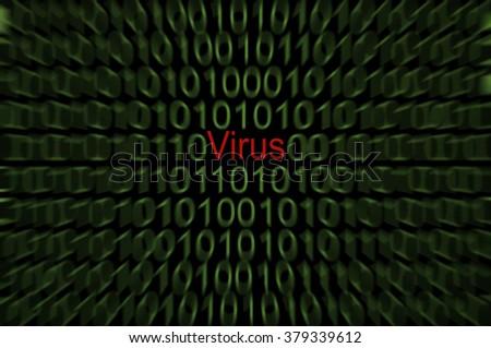 Virus in computer code - stock photo