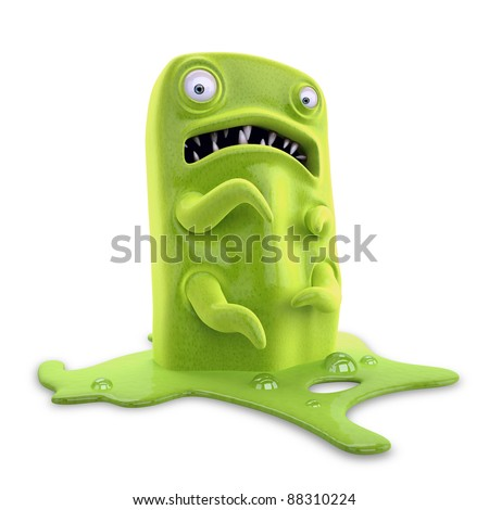 Virus macro microscope green monster ticket stock photo
