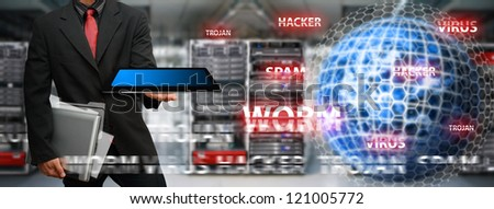 Virus protected by Programmer in data center room : Elements of this image furnished by NASA - stock photo