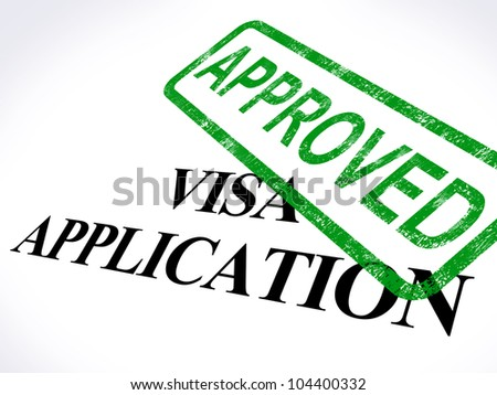 Visa Application Approved Stamp Showing Entry Admission Authorized - stock photo