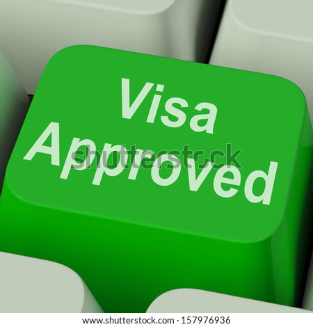 Visa Approved Key Showing Country Admission Authorized - stock photo