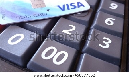 Visa cards business and shopping concept prompt pay
