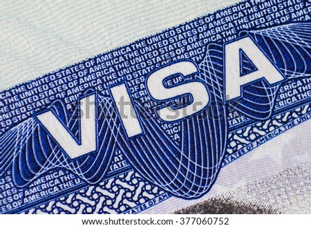 Visa in passport - stock photo