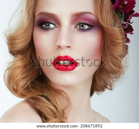 Visage. Gorgeous woman with Professional Evening Make Up - stock photo