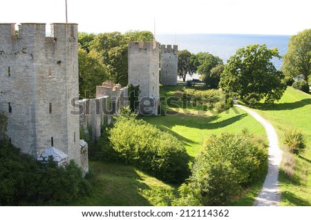visby medieval citywall, unesco world heritage site,in the city of Visby on the island of gotland in sweden. - stock photo