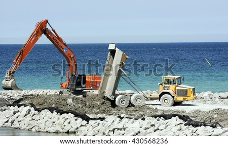 Visby, Sweden - May 2016 : Constructing a new cruising ship pier at the island of Gotland in the Baltic sea in Sweden - stock photo