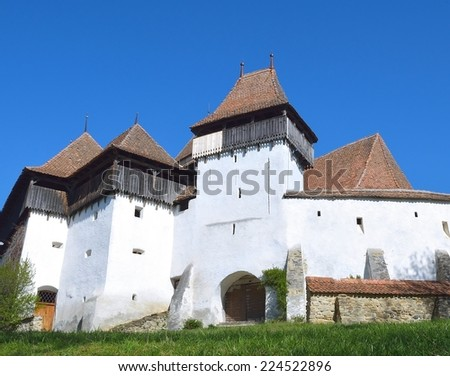 Viscri fortified church, in Transylvania, Romania, UNESCO heritage - stock photo