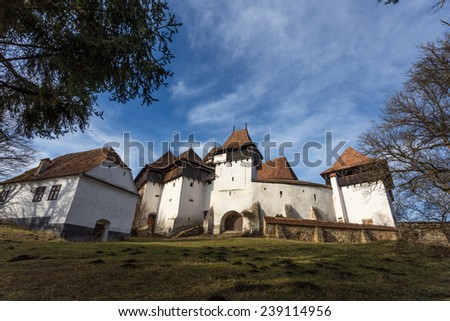 Viscri Fortified Church, Transylvania, Romania, UNESCO heritage - stock photo