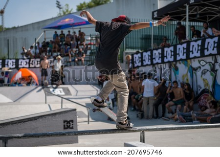 VISEU, PORTUGAL - JULY 27, 2014: Gustavo Ribeiro during the 2nd Stage DC Skate Challenge by Fuel TV.