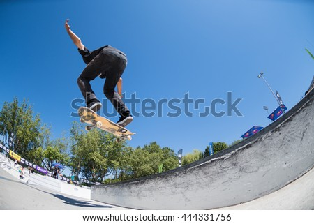 VISEU, PORTUGAL - JUNE 26, 2016: Pro skateboarder Joao Santos during the 1st Stage of DC Skate Challenge by Moche.