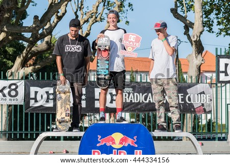 VISEU, PORTUGAL - JUNE 26, 2016: Professional skateboarder Gustavo Ribeiro wins the 1st Stage of DC Skate Challenge by Moche.