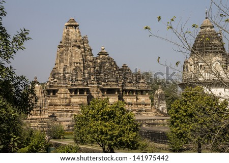 Vishvanath Temple (1002 AD; Chandela dynasty) - temple dedicated to Hindu god Shiva as Lord of Universe. Western Group of Temples in Khajuraho - UNESCO World Heritage Sites. Madhya Pradesh, India
