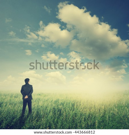 Vision business man in fields and sun sky.Vintage Tone - stock photo