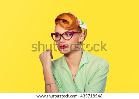 Vision. Closeup portrait confident successful beautiful attractive young woman fashion girl posing with sunglasses hand on head isolated yellow background wall Positive human emotion facial expression - stock photo