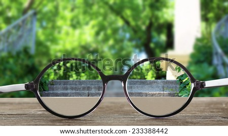 Vision concept. Glasses on green background
